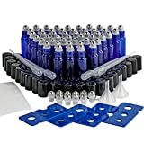 Essential Oil Roller Bottles, 48 Pack 10ml Cobalt Blue Empty Roll on Glass Bottles with Stainless Steel Roller Balls (10 Extra Roller Balls, 4 Openers, 4 Droppers, 2 Funnels, 48 Waterproof Labels)