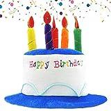 NETUME Happy Birthday Geburtstagshut, Plüsch Partyhut Erwachsene Geburtstagshut mit Kerzen, Ideal Party Zubehör Kindergeburtstag, Happy Birthday Partyhüte Lustige Kuchen Hut für...