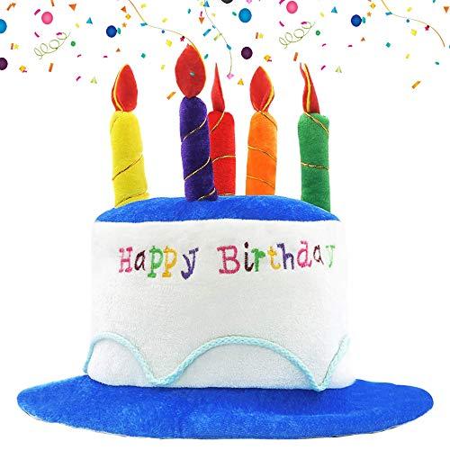 NETUME Happy Birthday Geburtstagshut, Plüsch Partyhut Erwachsene Geburtstagshut mit Kerzen, Ideal Party Zubehör Kindergeburtstag, Happy Birthday Partyhüte Lustige Kuchen Hut für Geburtstagsparty Deko