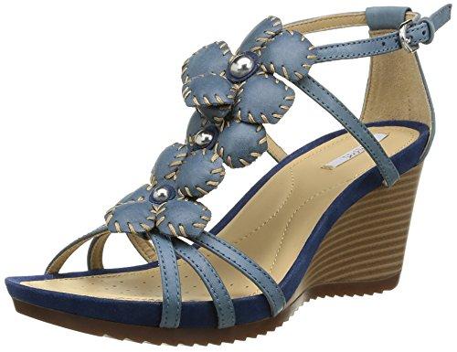 Geox D New Roxy E, Sandali Donna Blu Bleu (Denim) 39