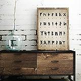 adgkitb canvas Runen Alphabet Print Art of Divination Schreiben Magie Vi Altnordische Sprache Vintage Leinwand Malerei Bild Wand-dekor 50x70 cm KEIN Rahmen