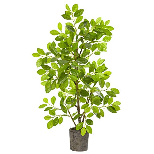 Nearly Natural 8329 3ft. Ficus Artificial Planter Silk Trees, Green