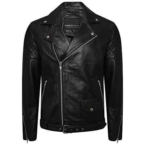 Barney's Originals Herren Asymmetrische Bikerjacke aus echtem Leder mit Diamantnaht an den Armen Gr. Medium, Schwarz