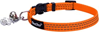 BINGPET Safety Nylon Reflective Cat Collar Breakaway Adjustable Cats Collars with Bell and Bling Paw Charm