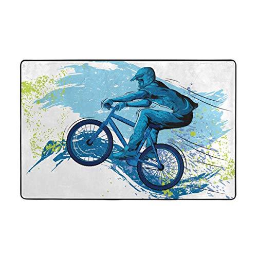 Blived Tappeto per Tappetino da Bagno,BMX of Sportsman Ciclismo Extreme Bike Freestyle Triathlon Bicicletta Cycle Speed Tappeto per Bagno 75cmx45cm