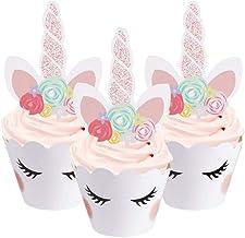Cxjff Unicorn Cake Topper, Handmade Gold Unicorn Cake Decoration Set with Horn, Ears and Eyelashes for Birthday Party, Bab...