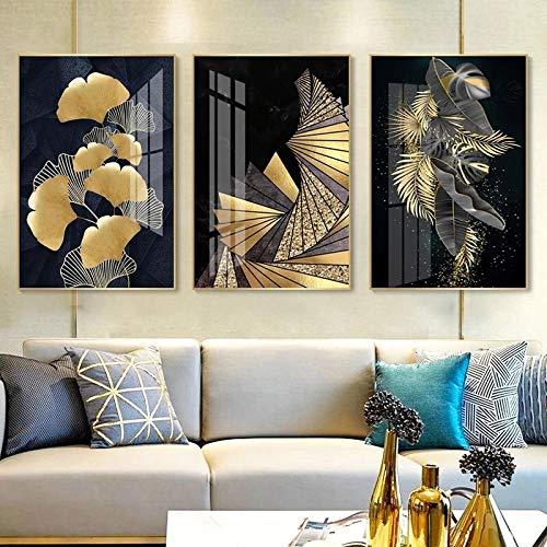 CUTMG Impresiones de Arte Decoración nórdica Hoja de Oro Resumen (Pintura en Lienzo) Póster e impresión de Arte de Pared para la decoración del hogar de la Sala de Estar (50x70cm) x3 Sin Marco