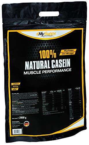 My Supps 100% Natural Casein - 100% natürliches, bioaktives & super cremiges Caseinpulver, reich an EAAs & BCAAs - Eiweiß für Muskelaufbau, Fitness Shake, Night Time Protein - Made in Germany (2000g)