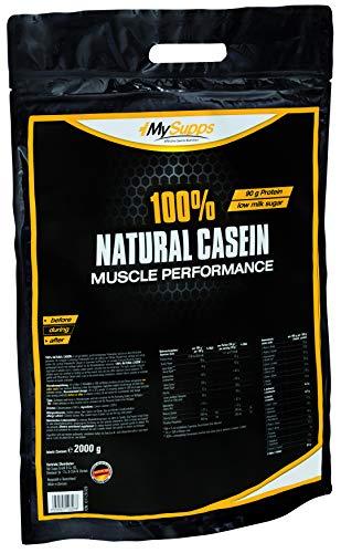 My Supps 100% Natural Casein - 2000g - 100% natürliches, bioaktives & super cremiges Caseinpulver, reich an EAAs & BCAAs - Eiweiß für Muskelaufbau, Fitness Shake, Night Time Protein - Made in Germany