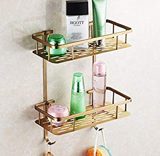Bathroom Accessories, Wall Thickness Brass Antique Shower Shampoo Shelf Shopping cart Holder/Fashion Bathroom Dual Shelf