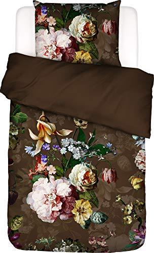 ESSENZA Fleur floral bed linen, peonies, tulips, cotton satin, brown, 155 x 220 cm + 1 x 80 x 80 cm