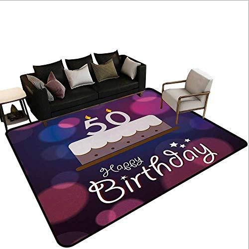 MsShe Kindermat 50e verjaardag, grote romige taart met veel kaarsen en cijfers ballonnen linten Art Print,Multi kleuren