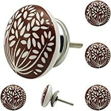 Decokrafts Hand Painted Floral Round Ceramic Knobs for Kitchen Cabinets and Drawer (Brown and White)- Pack of 6 Pieces