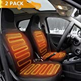 Tvird Car Heated Seat Cushion 2-Pack 12V Car Seat Heater Comfortable Auto Heated Seat Cover Adjustable Temperature for Cold Weather, Winter Driving Safer, Nonflammable UL Wiring-2019 Upgraded(Black)