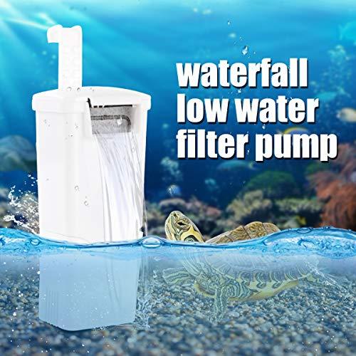 WEAVERBIRD Aquarium Schildkröte Filter Fließendes Wasser Pumpe Reinigen 3W 240L/H (63 GPH) Biofiltration für Reptilien Tank Niedriger Pegel Wasserfallfilter für kleines Aquarium Schildkröte Tank