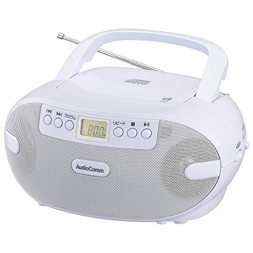 オーム電機 AudioComm ポータブルCDラジオ RCR-873Z 03-0771 OHM ホワイト 幅230×高さ113×奥行210mm