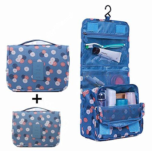 Hanging Toiletry Bag,Toiletry Bag ,Multifunction Cosmetic Bag, Portable Makeup Pouch, Waterproof, Set of 2 (bule)
