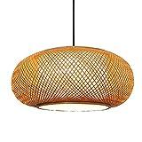 WANGYAN Lámpara Colgante De Linterna De Bambú Luz Tejida Bambú...