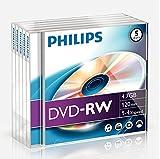 Philips DVD-RW DN4S4J05F/00 - DVD+RW vírgenes (4,7 GB, DVD-RW, 120 min, 4x), torre de 5 unidades