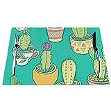 Tovagliette da giardino a forma di cactus, set da pranzo, resistente, lavabile, lavabile, antiscivolo, resistente alle macchie, Nero , 6 pezzi