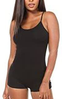 Women's Cotton Spandex Sleeveless Spaghetti Strap Unitard Short Bodysuit Tank Catsuit Romper
