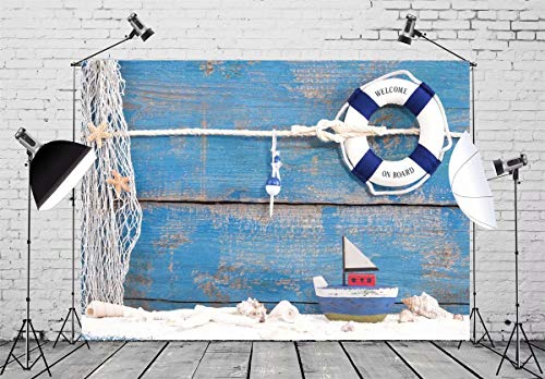 BELECO 7x5ft Nautical Backdrop Life Buoy and Toy Boat with Shells on Blue Wooden Background Phtography Backdrop for Party Decoration Birthday Boy Baby Shower Photoshoot Photo Background Props