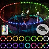 【Upgraded Power Adapter Version】LED Trampoline Lights, Remote Control Rim Light for 14Ft Trampoline,16 Colors&12 modes, Free from changing batteries, Waterproof, Super Bright to Play at Night Outdoors