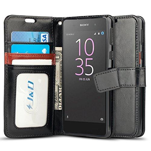 JundD Kompatibel für Xperia E5 Leder Hülle, [Handytasche mit Standfuß] [Slim Fit] Robust Stoßfest PU Leder Flip Handyhülle Tasche Hülle für Sony Xperia E5 Hülle - Schwarz
