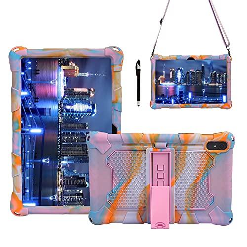 Tablet PC Case Tablet Funda para Samsung Galaxy Tab S7 T870, Cubierta protectora a prueba de golpes de silicona suave y ligera con correa de asador y hombro Tablet contraportada ( Color : Rose pink )