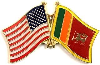 Box of 12 Sri Lanka & US Crossed Flag Lapel Pins, Sri Lankan & American Double Friendship Pin Badge
