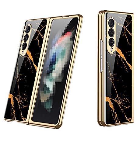 Galaxy Z Fold3 5G ケース SC-55B背面ケース ハードケース ストラップホール 衝撃吸収 薄 軽量メッキ 強化ガラス SCG11背面カバー Z Fold3 カバー ZFold3-DY-20907 (フルイドブルー)