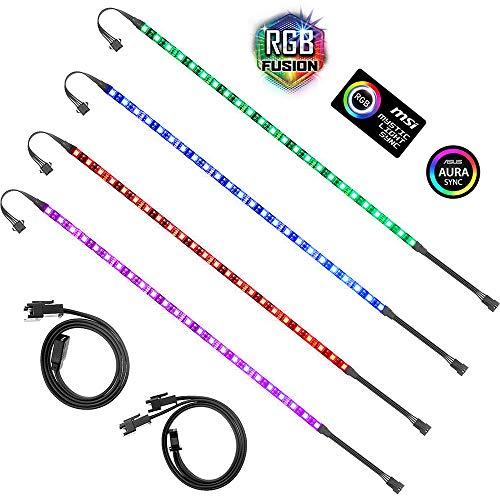 ALITOVE PC RGB LED Strip Light for Motherboard with 4 Pin RGB Header (+12V,G,R,B), Computer Case DIY Lighting for ASUS Aura Sync, Gigabyte RGB Fusion, MSI Mystic Light, ASRock RGB, 40cm 24 LED, 4pcs