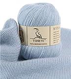 TEHETE Ovillo de lana, 100% Hilados de lana merino Hilo 50g para manta, suéter calcetín, bufanda, diy, ganchillo y tejido(Cielo azul)