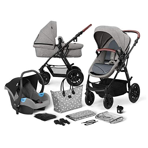 Kinderkraft Pram 3 in 1 Set XMOOV, Travel System, Baby Pushchair, Rear and Front Facing, Foldable,...
