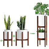 MUDEELA 2 Stück Verstellbarer Pflanzenständer,Mitte des Jahrhunderts Pflanzenhalter mit 2 Etagen,Holz Pflanzenregal Blumentopfständer (Topf und Pflanze sind Nicht enthalten)