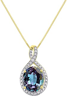 """Diamond & Simulated Alexandrite Pendant Necklace in 14K Yellow Gold With 18"""" Gold Chain - June Birthstone 12X10 Oval Color Stone Halo Designer"""