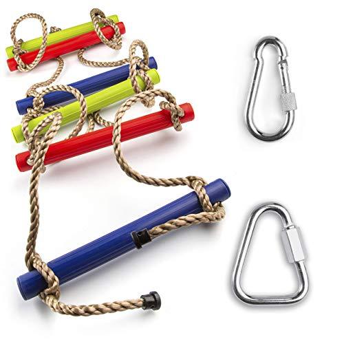 Escalera de cuerda multicolor para niños - Escalera de cuerda para trepar al aire libre o interior - Escalera de patio trasero, área de juegos, gimnasio en casa, sótano, árbol de casa para niños