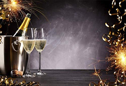 MMPTn Champagner Glas Silvester Hintergrund 5x3ft Vinyl Fotografie Hintergrund Romantische Feier Wunderkerzen Festival Holiday Eve Party Getränke Flasche Band Vintage Wand Holzboden Szene