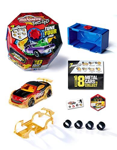 Majorette – Tune Ups Series 1 – Spielzeugauto aus Metall zum Tunen mit 7 Überraschungen, 1 von 18 Autos zum Sammeln im Überraschungspack, inkl. Tuning-Zubehör, Lieferung: 1 Stück, zufällige Auswahl