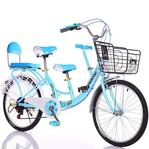 FLYFO Bici per Genitori-Bambini per Due Persone, da 22 Pollici, velocità Variabile può Portare 2 Biciclette da Uomo E da Donna in Stile Madre E Bambino, Bici da Viaggio in Tandem,Blu