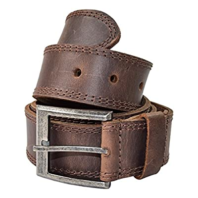 Men's Two Row Stitch Leather Belt, Handmade by Hide & Drink :: Bourbon Brown (Size 36)