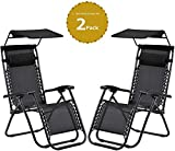 Rikdev® Set of 2 Heavy Duty Textoline Zero Gravity Chairs | Garden Outdoor Patio Sun Loungers | Folding Reclining Chairs (WITH CANOPY & DRINKS HOLDER) (Black)