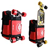 GoRide Electric Skateboard or Regular Skateboard Longboard Backpack Bag Carrier for Any Size Board with Laptop Case and Large Storage Compartments for School, Work, or College Tech (Black)