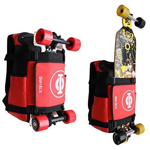 GoRide Elektrisches Longboard Skateboard Rucksack Tasche Carrier mit Laptop Halter, schwarz / rot (mehrfarbig) - SKU00019-Parent