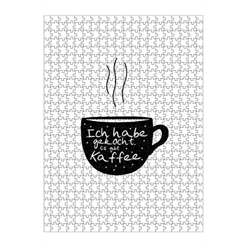 artboxONE Ravensburger-Puzzle L (500 Teile) Typografie Kaffeekochen - Puzzle Kaffee koffein aufwachen
