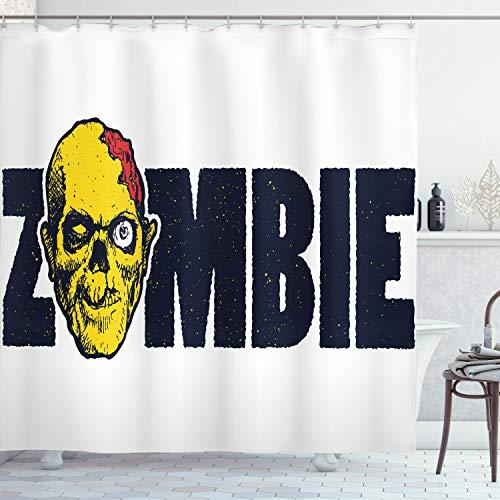 ABAKUHAUS Duschvorhang, Totes Zombie Gesicht angst Furcht Karikatur mit Zombie Typografi Stil Monster Illustration Druck, Wasser & Blickdicht aus Stoff mit 12 Ringen Schimmel Resistent, 175 X 200 cm