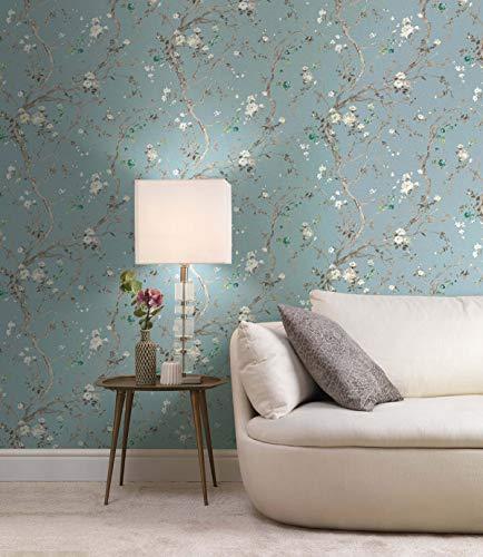 Papel pintado de fieltro, color azul turquesa, marrón, con flores, vintage, diseño moderno para pasillo, cocina, dormitorio, salón, 10,05 m x 0,53 m, 100% fabricado en Alemania