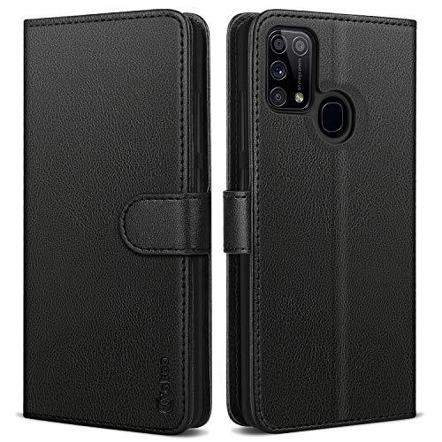 Vakoo Wallet Serie Handyhülle für Samsung Galaxy M31 Hülle, Schwarz