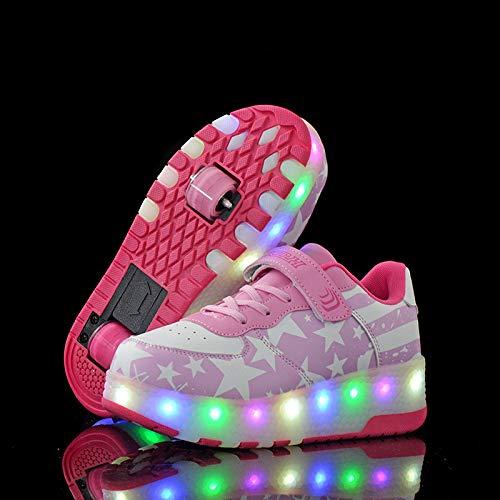 YURU Kinder Roller Skate Schuhe Heelies LED Light Sneakers Mit Wheel Boy Girl Freizeitschuh Fashion Trainer,Pink-EU28