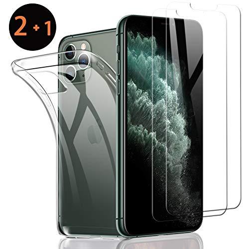 SHINEZONE [2 stuks + hoes] pantserglas en telefoonhoes voor iPhone 11 Pro 9H] hardheidsbeschermfolie krasbestendig oliebestendig en luchtbelvrij telefoonbeschermfolie voor iPhone 11 Pro [levenslange garantie]